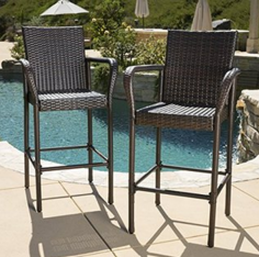 Outdoor Furniture, Wicker Bistro Chairs, Wicker Outdoor Furniture, Stewart Outdoor Brown Wicker Barstool
