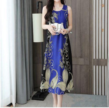 Women Dress Hemp Cotton Retro Ethnic Print Sleeveless Large Size Cute Refined Noble Trend Summer long Dress 5XL