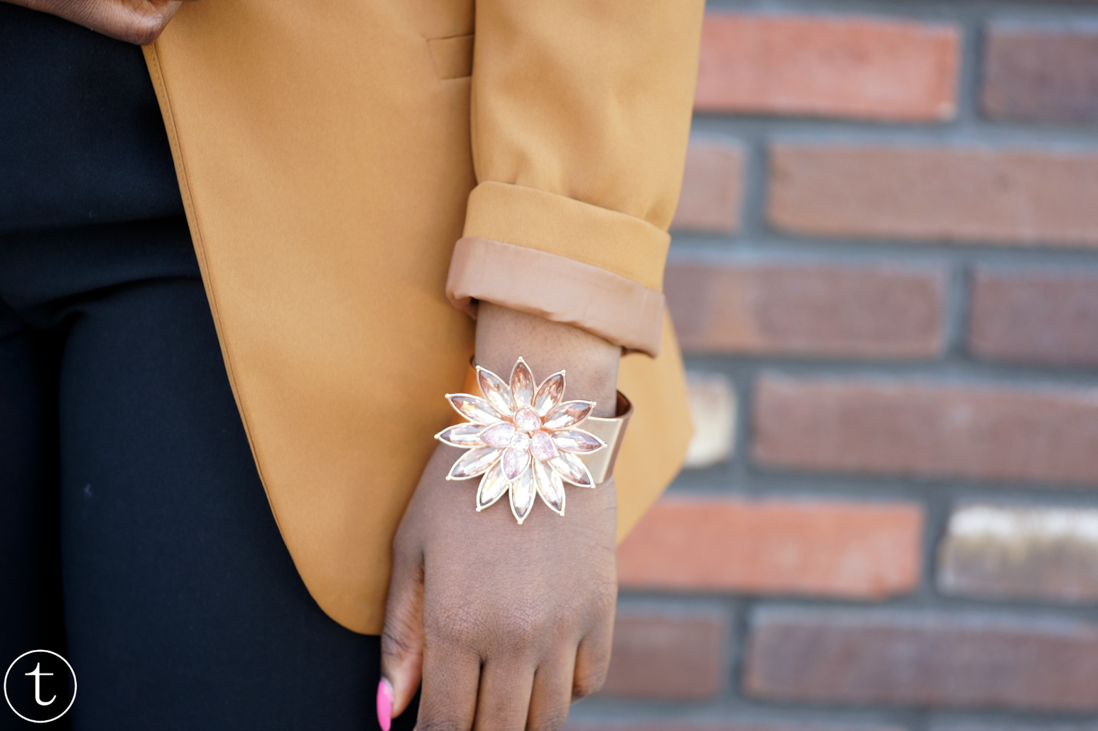 ted baker rose gold floral bangle bracelet