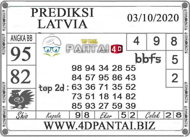 PREDIKSI TOGEL LATVIA PANTAI4D 03 OKTOBER 2020