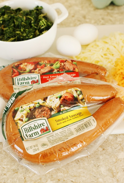 Crustless Smoked Sausage & Spinach Quiche ~ A flavorfully delicious no-hassle meal the whole family will love!  Reheats beautifully for make-ahead convenience. #nohasslesavorymeal #Pmedia #ad  www.thekitchenismyplayground.com