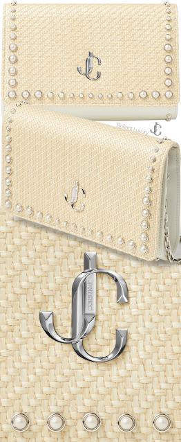 Jimmy Choo natural and latte woven raffia Varenne clutch bag with pearl studs #brilliantluxury