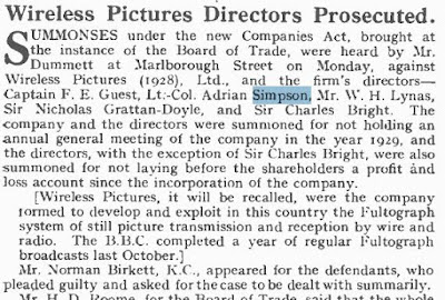 "Extract from The Wireless and Gramophone Trader journal (7 June 1930) ""Wireless Pictures Directors Prosecuted"""