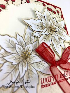 Stampin' Up!®'s Poinsettia Petals Bundle, Poinsettia Place designer paper, Celebration Labels dies, Subtle embossing folder.  #StampinUp #StampTherapist