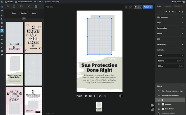 Cette nouvelle section de design facilite l'ajout de fonctionnalités de conception attrayantes sans avoir à modifier l'ensemble de la mise en page des Web Stories.