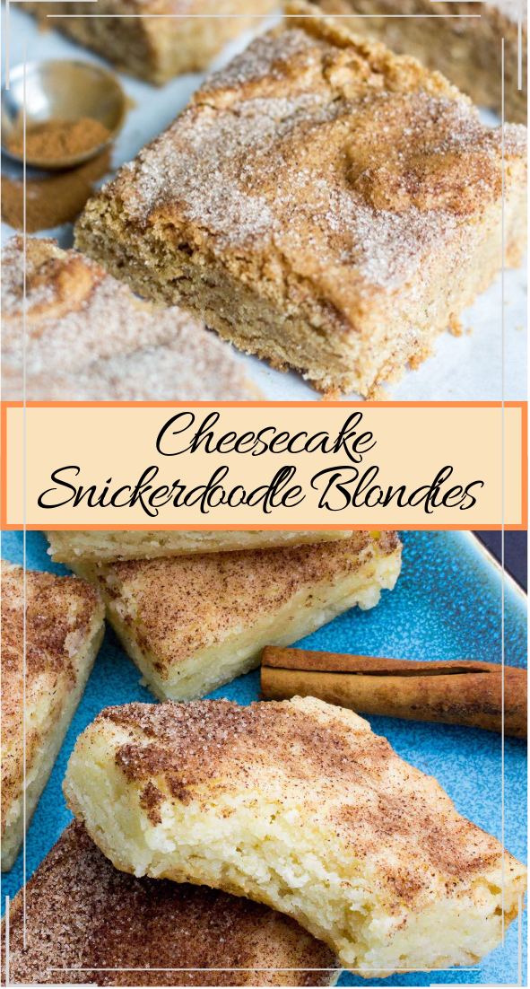 Cheesecake Snickerdoodle Blondies #desserts #cakerecipe #chocolate #fingerfood #easy