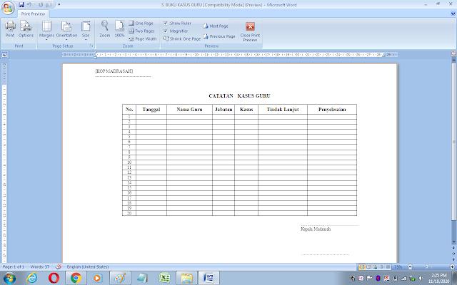 Format buku catatan kasus guru