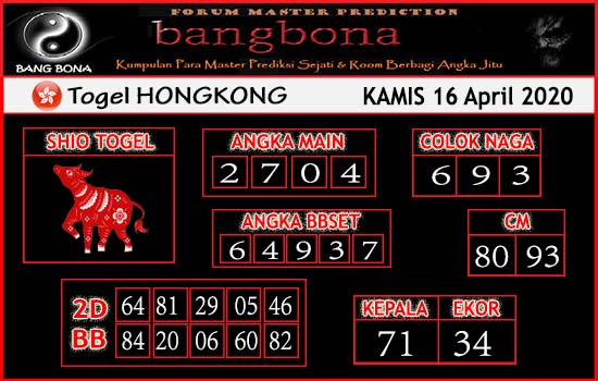 Prediksi HK Malam Ini 16 April 2020 - Bang Bona HK