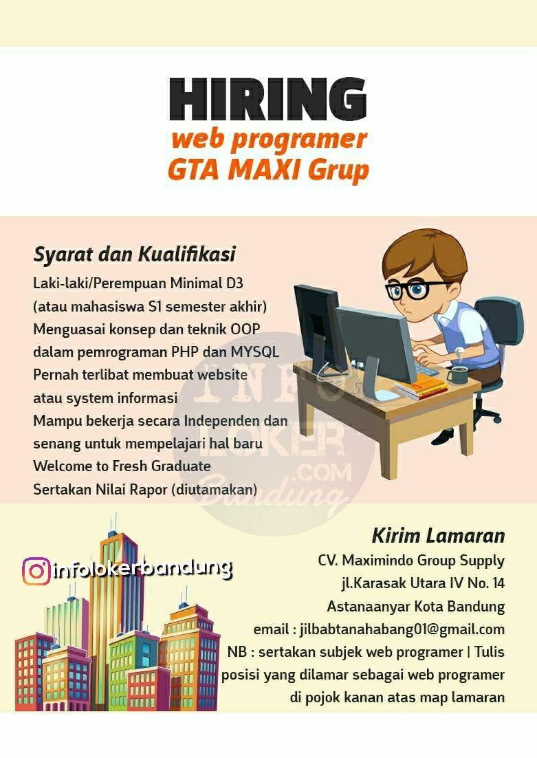 Lowongan Kerja Web Programmer GTA MAXI Grup Bandung April 2018