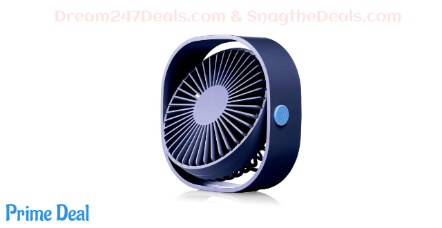 40%OFF HOPEME 4'' Desk Personal Fan with 3.8ft USB Cable, 3 Speeds and 360° Rotatable Vertically Blue Color Mini Small Fan, Quiet Operation and Strong Wind,Suitable for Office Home