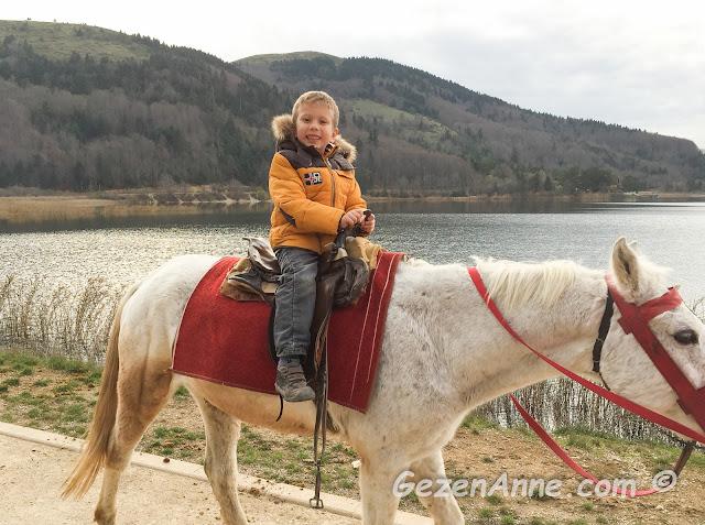 beyaz atlı prensim atıyla göl kıyısında dolaşırken, Abant gölü