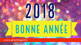 Multi colour Sparkling French Happy New Year 2018 Greetings