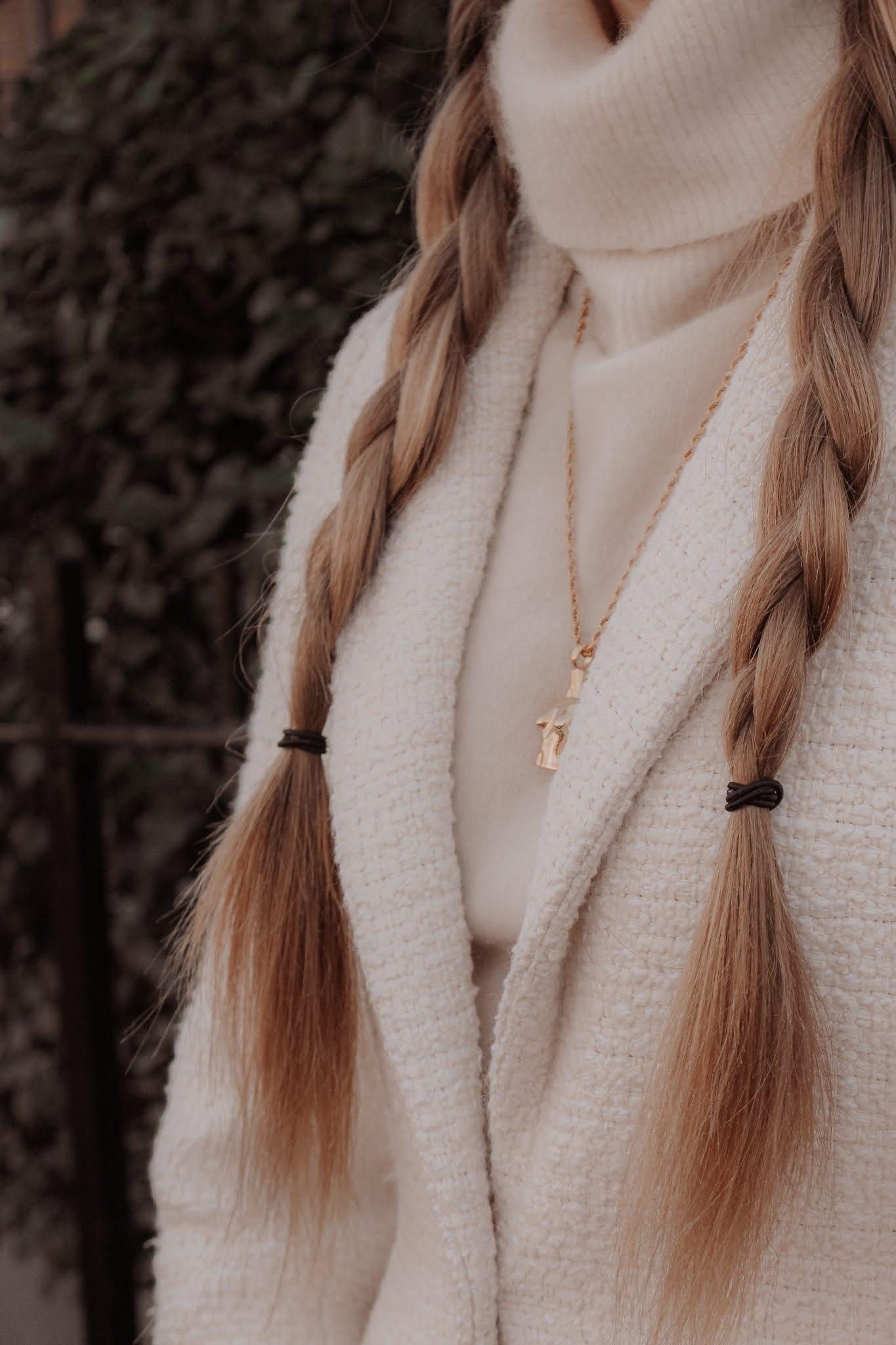 Long blonde hair side braids