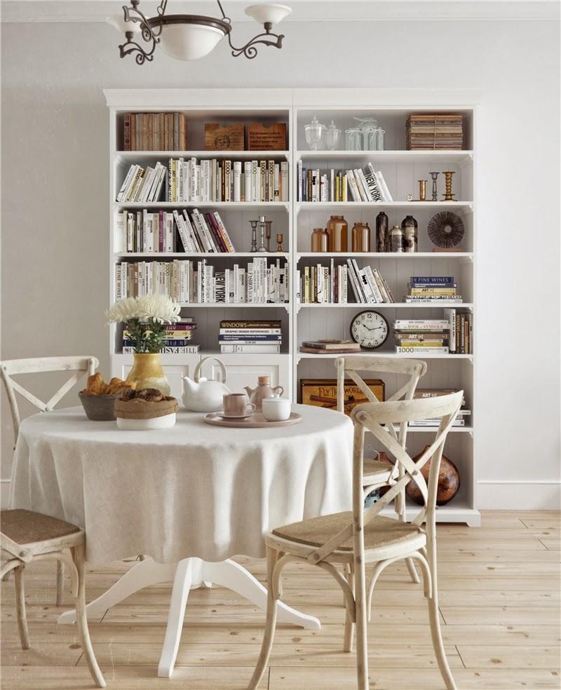 Stonowane wnętrze z błękitnymi dodatkami, wystrój wnętrz, wnętrza, urządzanie domu, dekoracje wnętrz, aranżacja wnętrz, inspiracje wnętrz,interior design , dom i wnętrze, aranżacja mieszkania, modne wnętrza, styl klasyczny, pastelowe kolory, jadalnia, biblioteczka