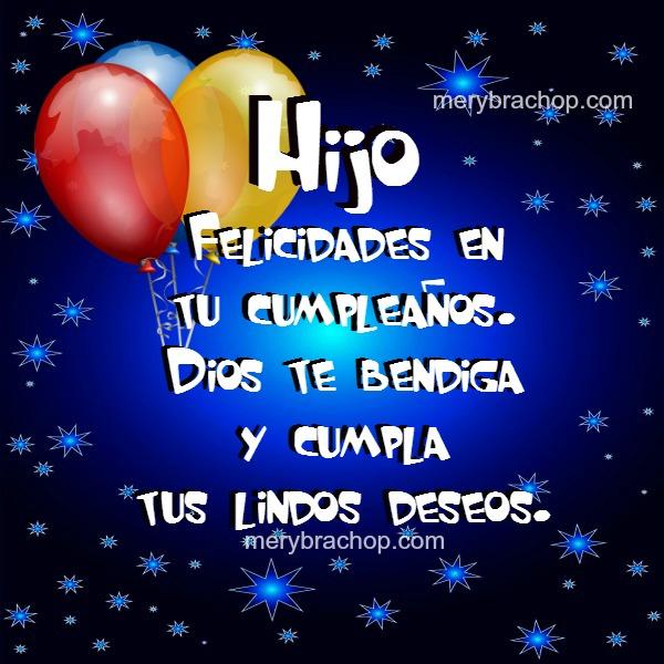 feliz cumpleaños hijo, bonita imagen con globos de colores, fondo azul, bendiciones para mi querido hijo