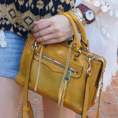 JORD Cora wood watch, Rebecca Minkoff micro Regan satchel in Harvest Gold | away from the blue