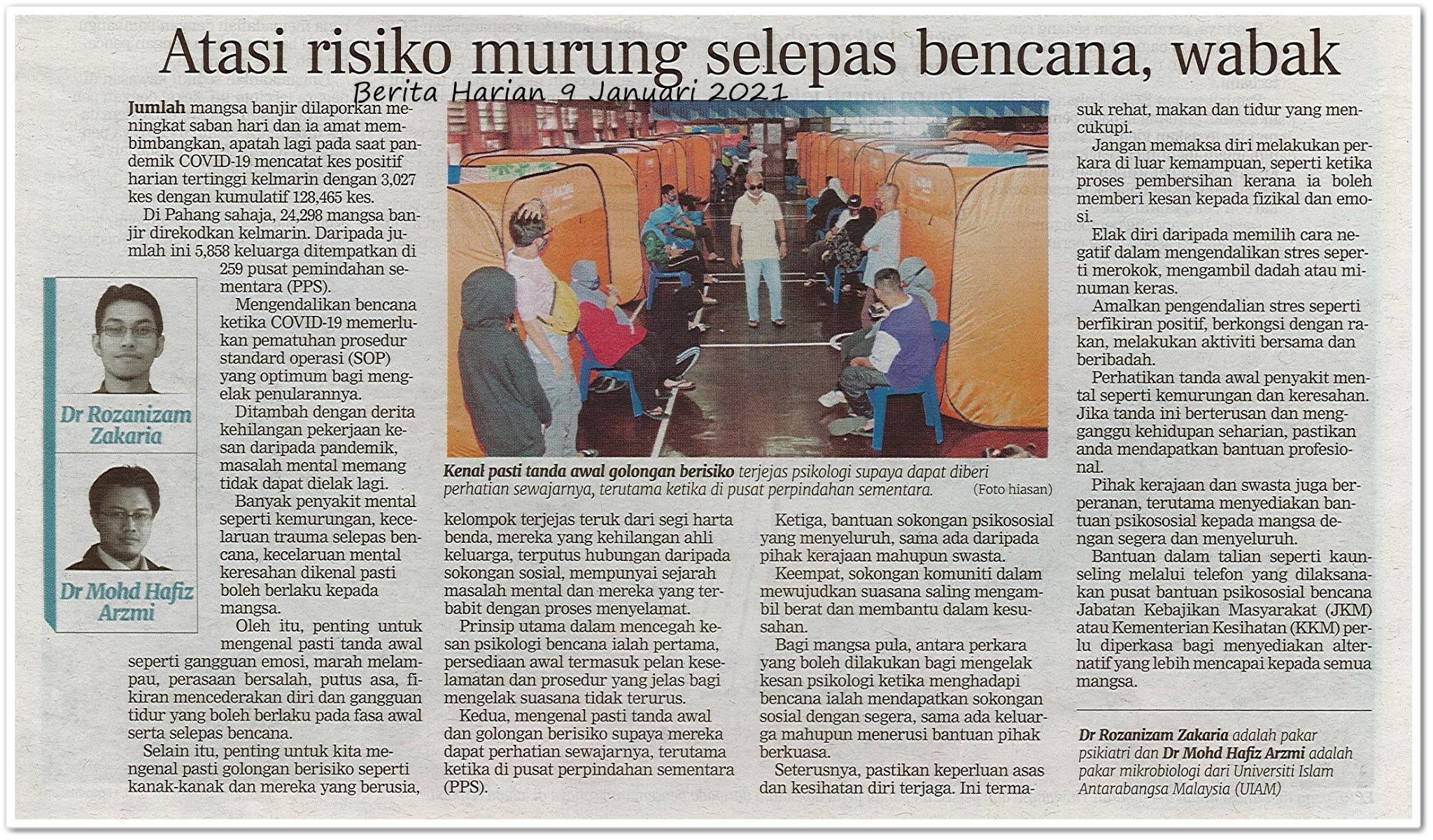 Atasi risiko murung selepas bencana, wabak - Keratan akhbar Berita Harian 9 Januari 2021