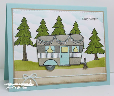 North Coast Creations Happy Camper, Our Daily Bread designs Custom Double Stitched Rectangles Dies, Card Designer Angie Crockett