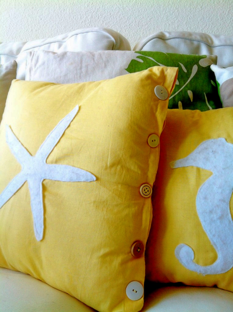 DIY pillows with Felt Cutouts Coastal Beach Theme