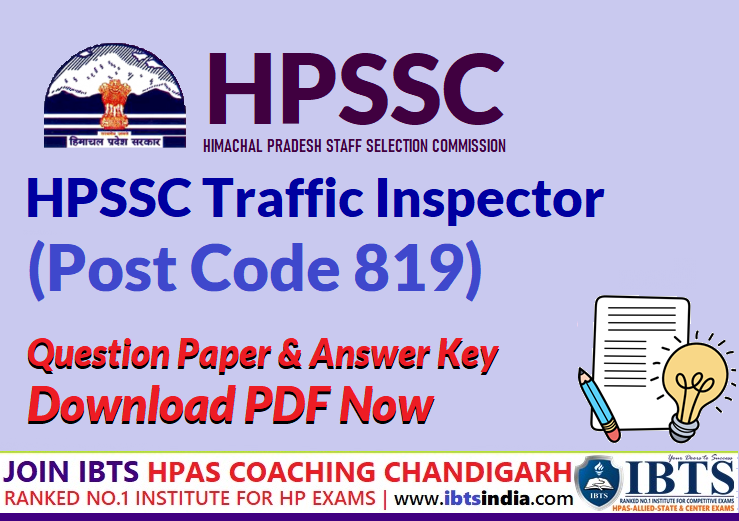 HPSSC Traffic Inspector (Post Code 819) Question Paper & Answer Key 2021 Pdf Download