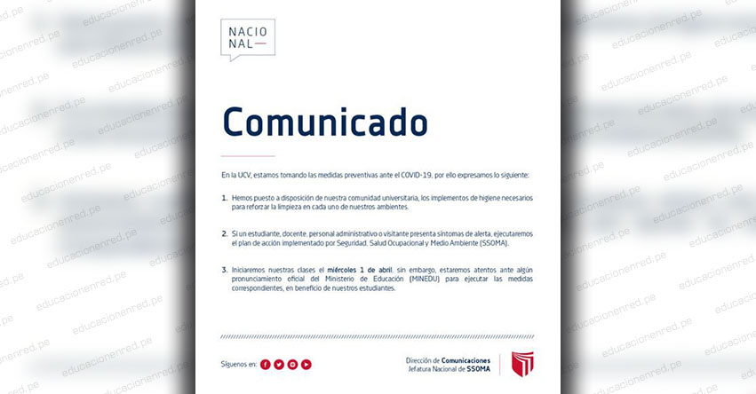 UCV: Universidad César Vallejo posterga clases por coronavirus