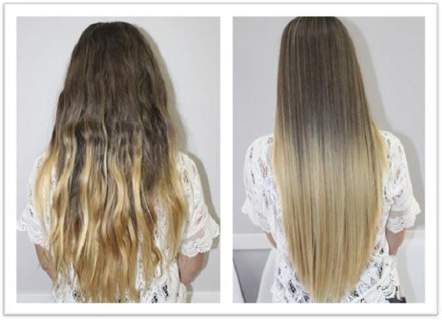 Mujer antes y después del alisado con keratina.