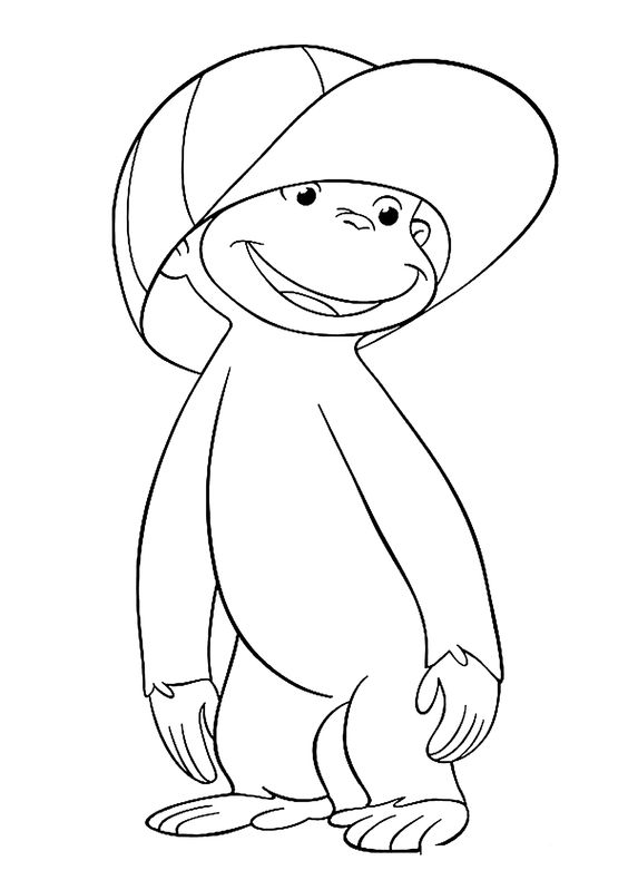 Hình tô màu con khỉ vui vẻ