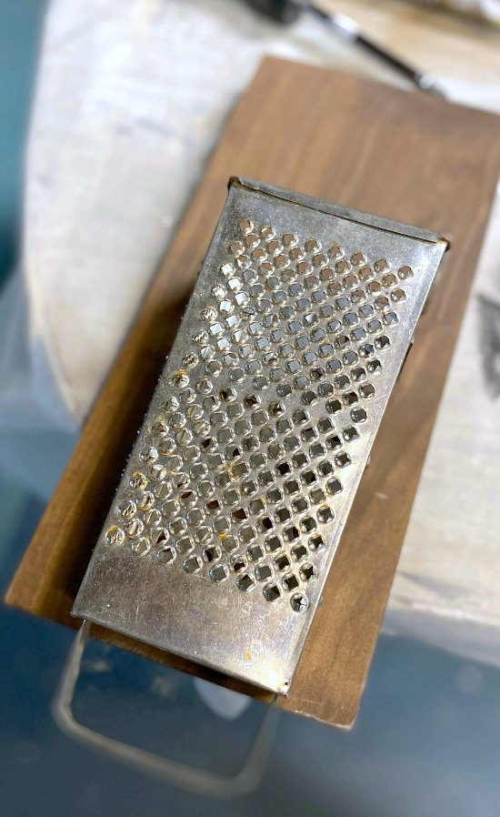 Vintage cheese grater wall vase