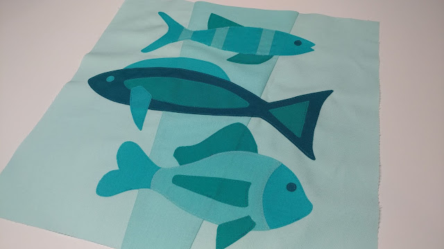 Fish quilt block in aquas