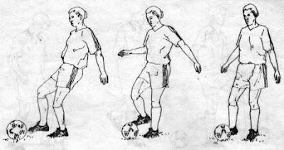 menghentikan bola dengan kaki bagian dalam