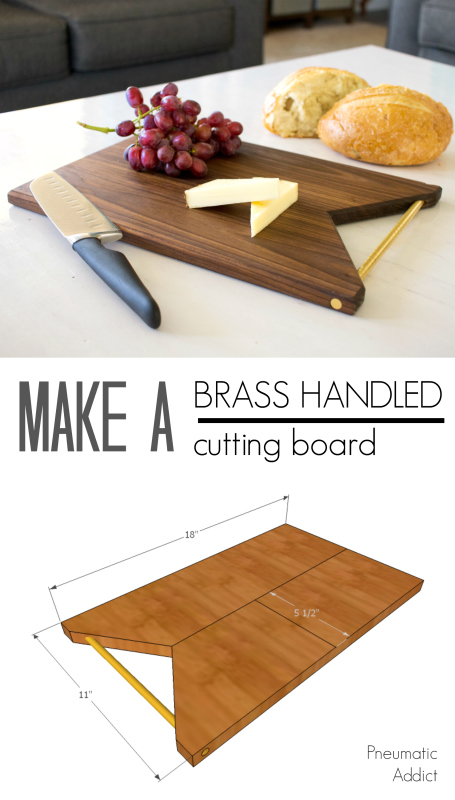 How to make a simple modern cutting serving board from walnut and brass rod