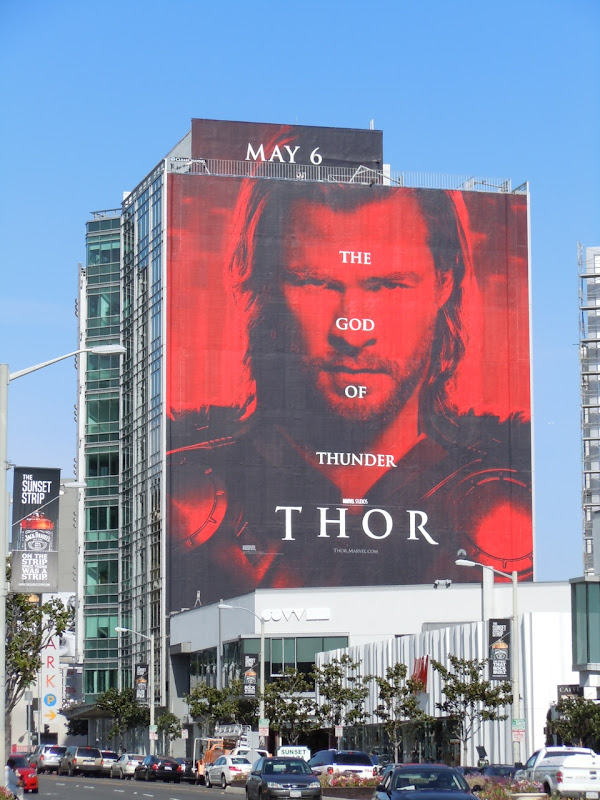Giant Thor movie billboard Sunset Strip