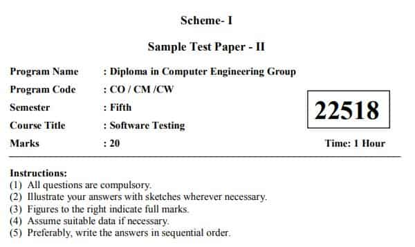 22518 -sample-question-paper- Software Testing I Scheme 5th