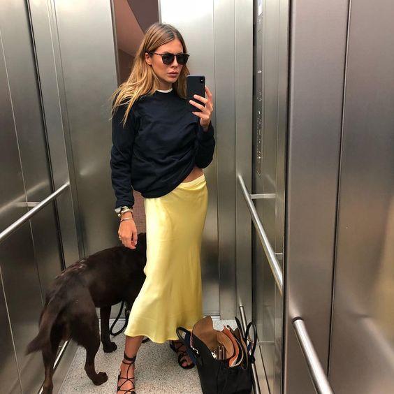 yellow silk skirt
