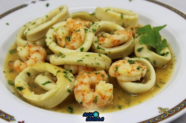 Calamares en salsa de langostinos olla GM Ana Sevilla