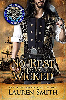 No Rest for the Wicked by Lauren Smith, pirate with long black hair in front of ship