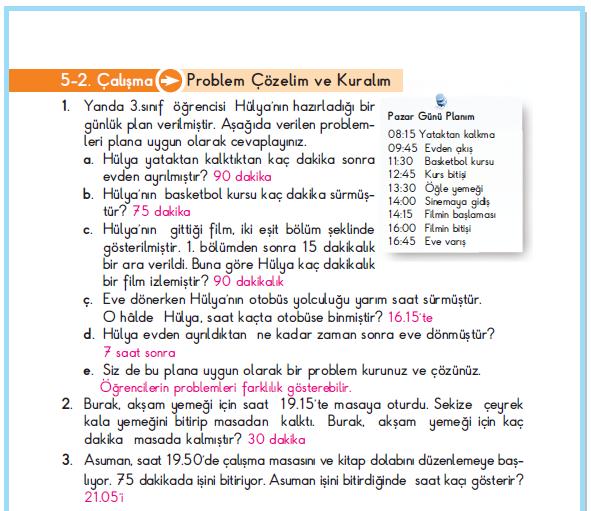 3. Sınıf Berkay Yayınları Matematik Çalışma Kitabı 114. Sayfa Cevapları 5-2. Çalışma Zamanı Ölçelim