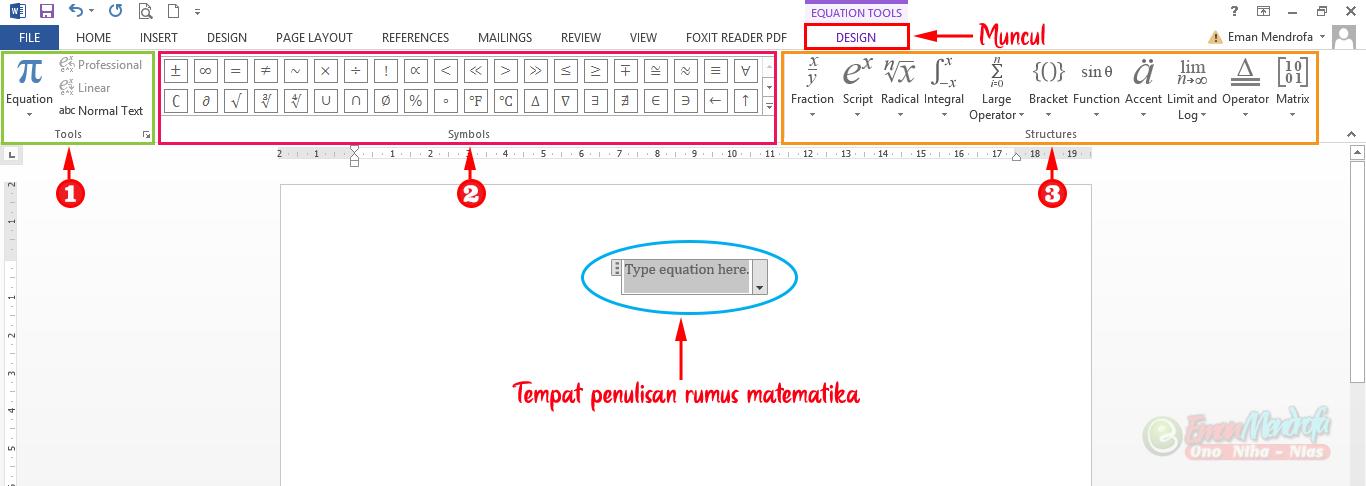 Tips Menulis Rumus Matematika Di Microsoft Word Dengan Equation Eman Mendrofa
