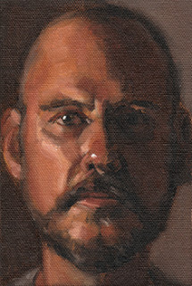 Oil painting of a bald, bearded man.