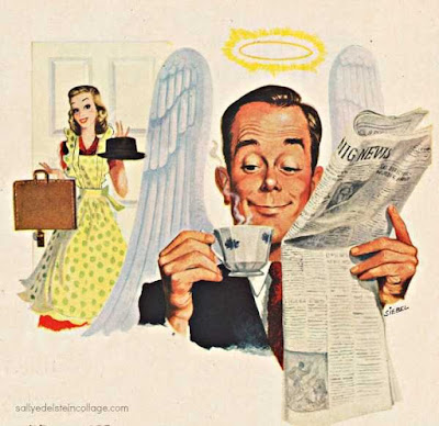 1950s household man, a saint drinking coffee, while his wife holds his hat and briefcase