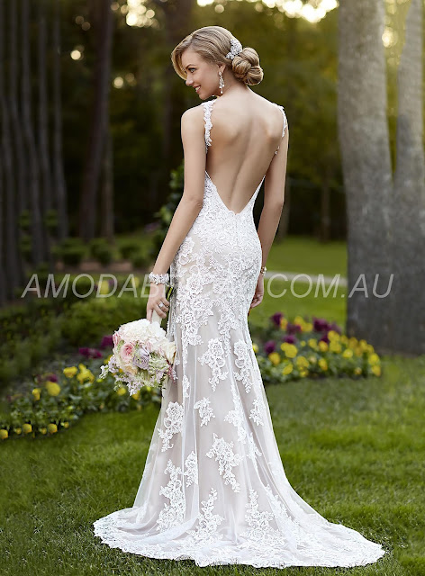 Adelaide Brilliant V-Neck Floor-Length Lace BacklessWedding Dress With Appliques