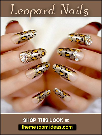 Leopard French Fake Nails Brown Gold Rhinestones Glitter False Nail Art