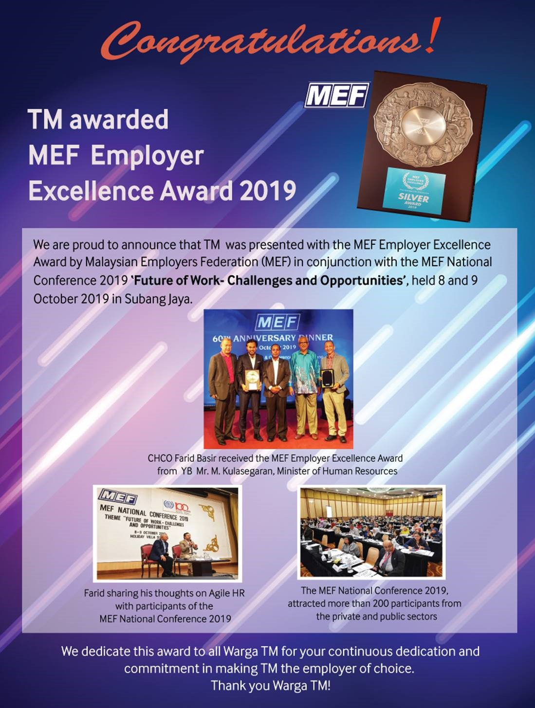 Congratulations! TM is Awarded MEF Employer Excellence Award 2019!