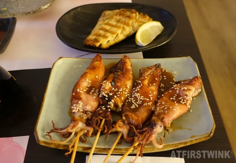 Yuniku Leiden All you can eat sushi & grill saba yaki grilled mackerel ika skewers