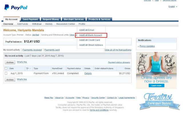 menambahkan bank akun anda ke paypal untuk melakukan withdraw saldo paypal ke rekening bank lokal