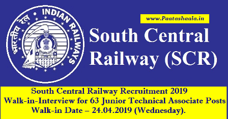 South Central Railway Recruitment 2019 South Central Railway Recruitment 2019, Walk-in-Interview for 63 Junior Technical Associate Posts | South Central Recruitment 2019 is hiring for 63 Junior Technical Associate Posts | South Central Railway Recruitment 2019 – 63 Jr. Technical Associate South Central Railway Recruitment 2019/2019/04/south-central-railway-recruitment-2019-notification-walk-in-interview-junior-technical-associate-posts-www.scr.indianrailways.gov.in.html