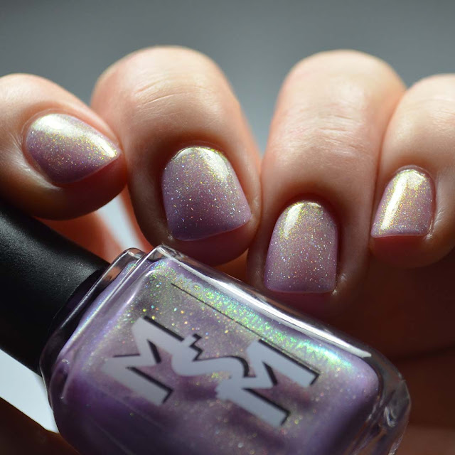 lavender nail polish with color shifting shimmer swatch