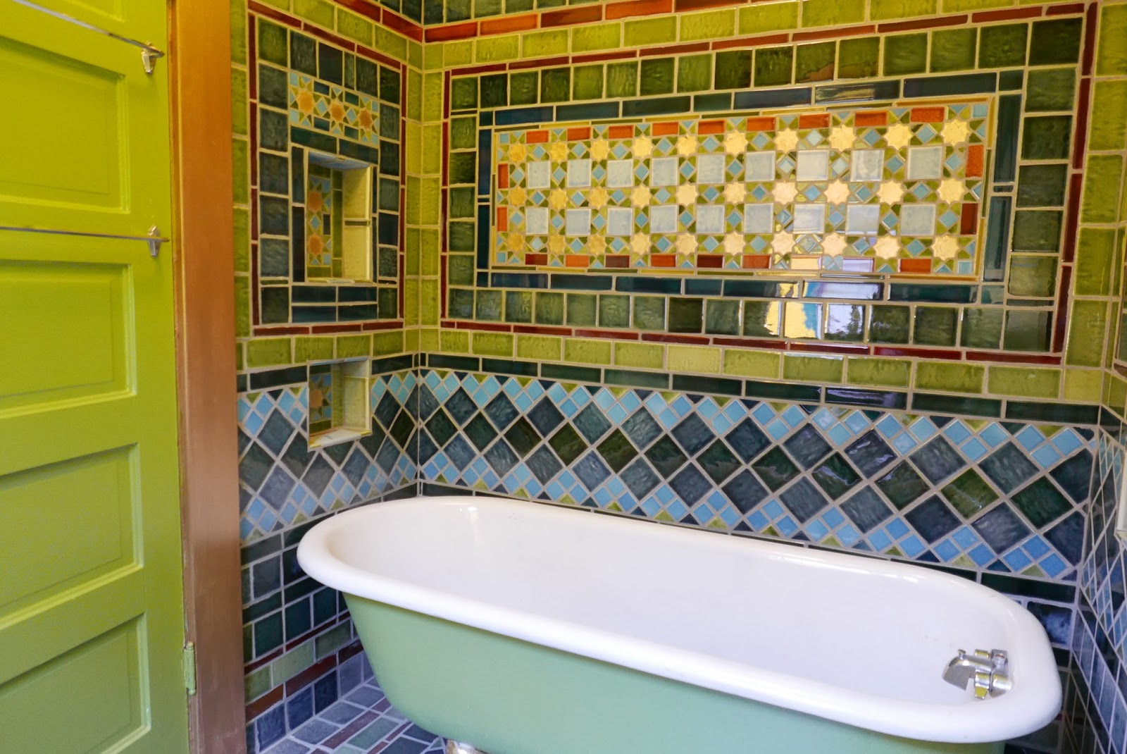Installed bronze like tile on the weeping wall it looks old school - Tile Work In My Bathroom