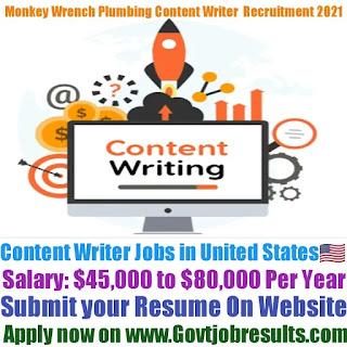 Monkey Wrench Plumbing Content Writer Recruitment 2021-22