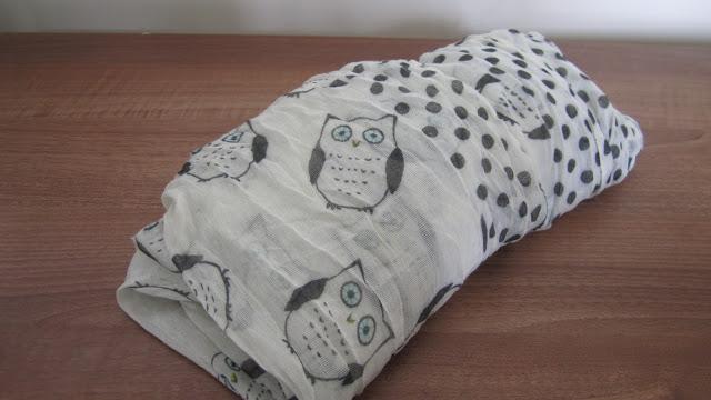 Primark White Owl Print Scarf